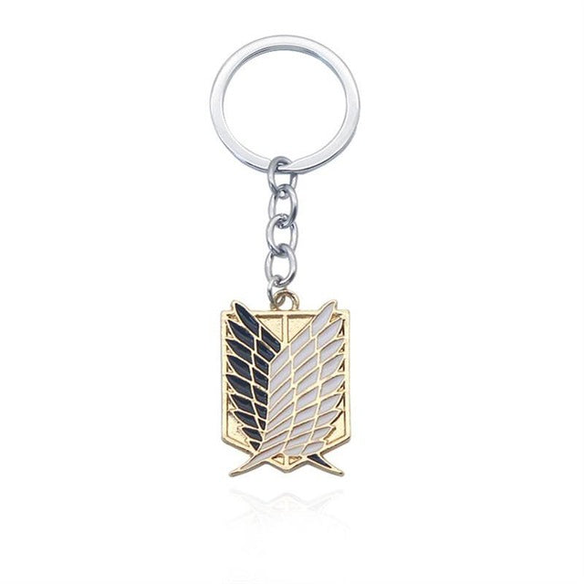 Anime Attack On Titan Keychain Shingeki No Kyojin Cosplay Wings of Liberty Key Chains Rings Holder White Enamel Keyrings
