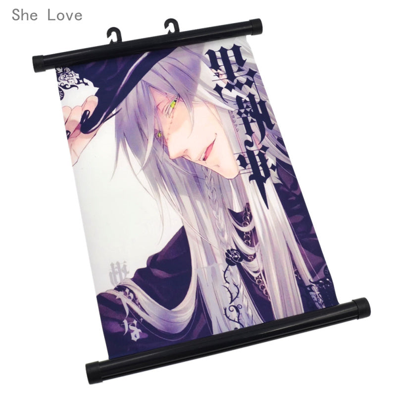 She Love Japanese Anime Wall Scroll Painting Black Butler Poster Home Decor Fans Gift