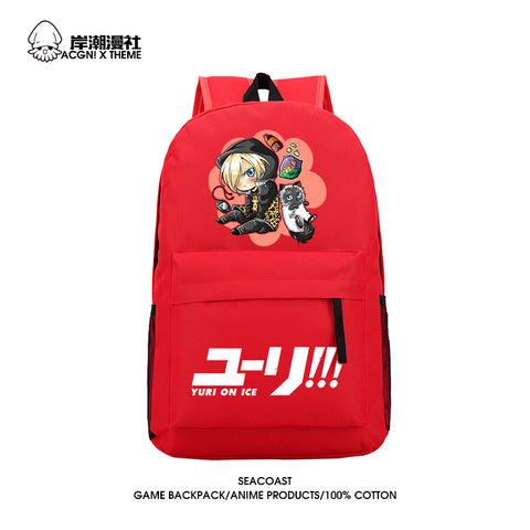 Anime YURI!!! on ICE Cosplay Yuri Plisetsky Cos  2017 new shoulder bag bag male and female student casual canvas backpack