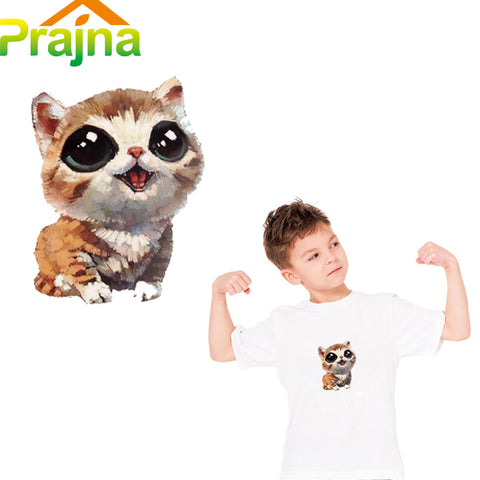 Prajna Iron on Transfers For T Shirt Anime Cat Patch Kids Cartoon Patch Applique Hot Fabric Heat Transfer Paper Vinyl Stickers