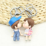 2017 Hot Lovers Mini  PVC Keychain Jewelry Trendy Cute Anime Character Key Chain Alloy Key Ring For Valentine's Day Gift 2pcs