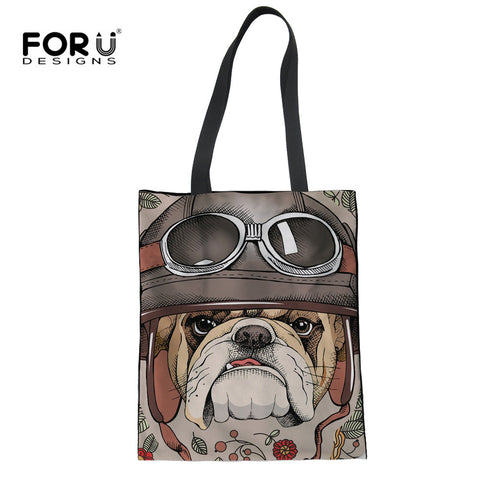 FORUDESIGNS Large Shopping Bags Reusable Women Casual Cute Animal Dog Print Female Linen Lady Foldable Cloth Bags Bolsas Mujer