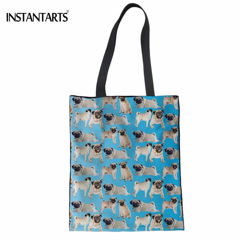 INSTANTARTS Cute 3D Pug Dog Print Women Reusable Cotton Shopping Bags Casual Female Shoulder Bags Large Capacity Linen Tote Bags