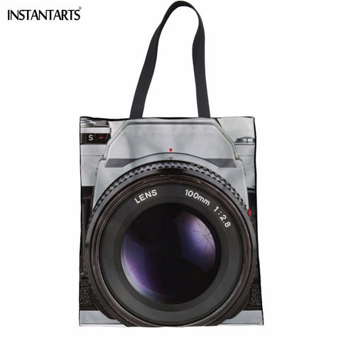 INSTANTARTS Casual Women Shopping Bags Reusable Vintage Camera Print Multi-function Linen Tote Bags Teen Girls Eco Shoulder Bag