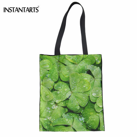 INSTANTARTS 3D Green Leaves Print Women Linen Shopping Tote Bags Casual Supermarket Recyling Bag Female Reusable Cotton Eco Bags