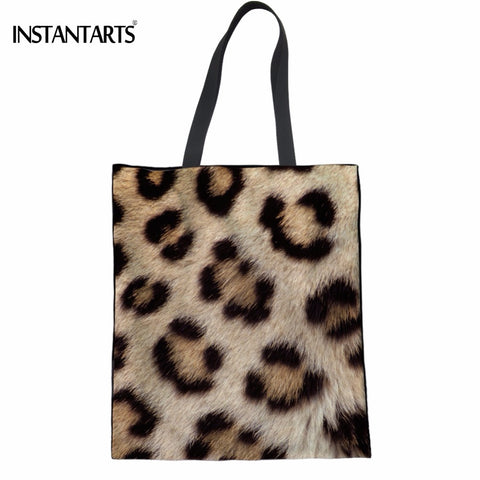 INSTANTARTS Cool Leopard Print Women Shopping Linen Tote Bags Friendly Recyling Supermarket Bags Fashion Female Reusable Eco Bag
