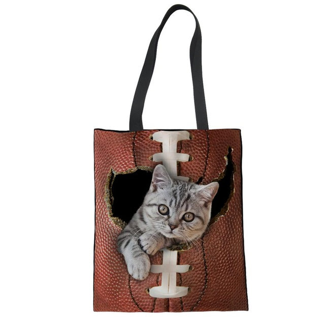 FORUDESIGNS Eco Reusable Shopping Bags Cotton Line Grocery Packing Recyclable Bag Cat Design Lightweight Tote Handbag Fashion