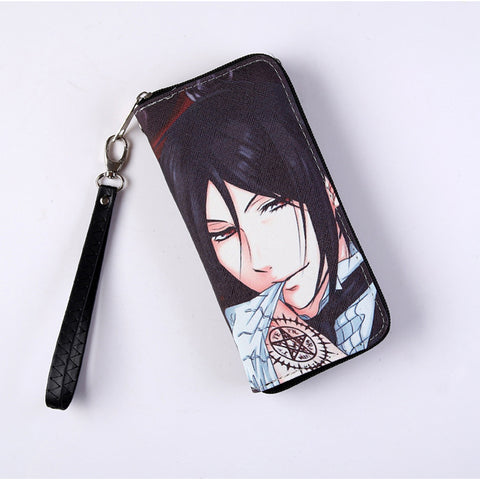Black Butler Long Style Wallet Anime Sebastian Michaelis Colorful Cool PU Purse with Zipper