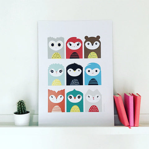 Multi 'Animal-head' print by Pipkin&Co