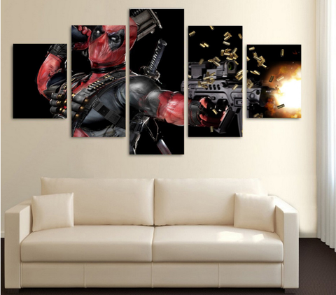 HD Printed DeadPool Shooting 5 Piece Canvas