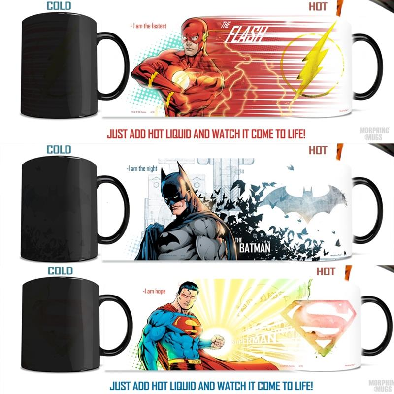 (3 pieces set ) the flash mug,batman mugs,superman mugs heat changing color cups morphing coffee mug transforming tea Cup