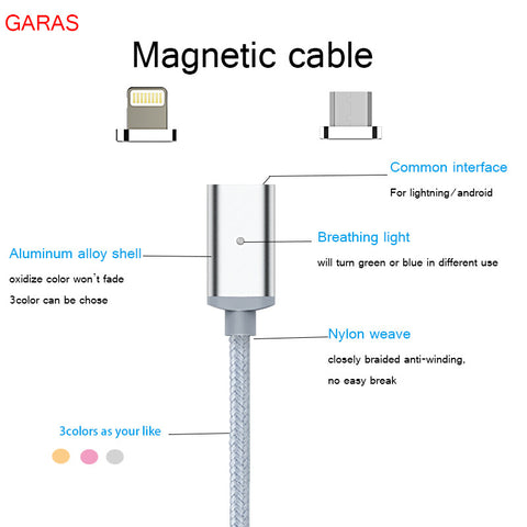MAGNETIC CABLE FOR IPHONE AND ANDROID DEVICES