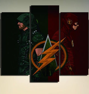 Flasroew - The Flash and Arrow 3 PCS Canvas Prints Set