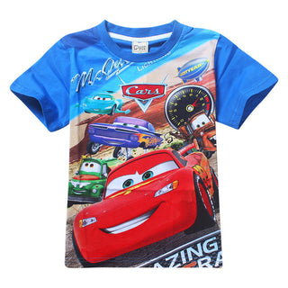 2017 New Summer Boys T-shirt Cotton O-neck Short Sleeve Cartoon Car Kids T shirts For Boy Girls Top Tee Children Clothing 2ht018