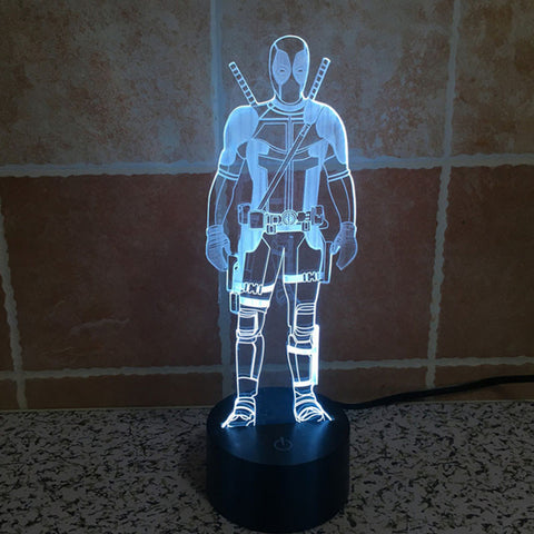 Multicolor Flashing Deadpool 3D Table Lamp with Visual Illusion!