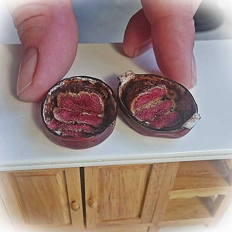 Miniature Roast beef, sliced in red roasting pan (1:12 scale)