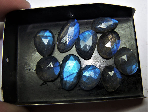 40.50 cts Blue Flashy Labradorite 10 pieces Rose Cut Faceted Slice Gems, Wholesale Parcel/Lot of Free Form Loose Gems,100 % Natural AAA