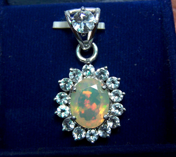 Ethiopian Opal Insane Rainbow Fire Pendant with White Topaz Cluster in Sterling Silver