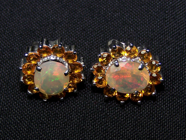 5.67 Cts Sunset Opal and Citrine Cluster Silver Earring - Insane Fire Play Faceted Oval of Ethiopian Welo AAA