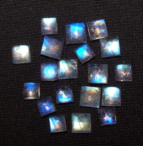 5 x 5 MM to 6 x 6 MM Blue Flashy White Rainbow Moonstone Rose Cut Square Cabochon,19 Pieces, Wholesale Parcel/Lot of Square Cabochon Loose Gems,100 % Natural Gems AAA