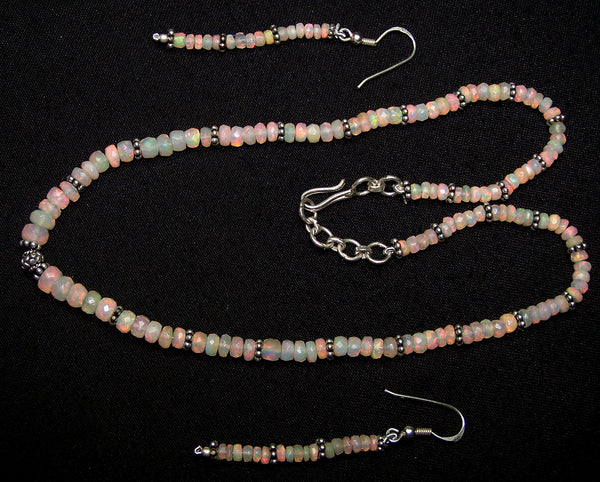 Insane Fire Natural Ethiopian Welo Opal Necklace of Micro Faceted Beads & Oxidized Silver Pandora Findings : Designer Necklace with matching earrings AAA