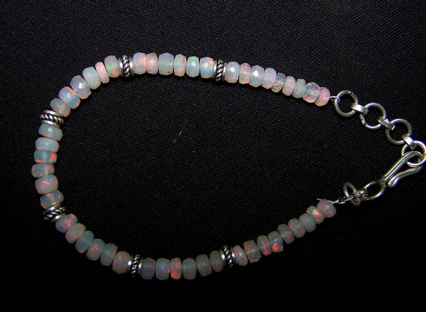 Insane Fire Natural Ethiopian Welo Opal Silver Bracelet of Micro Faceted Beads & Oxidized Silver Pandora Findings AAA