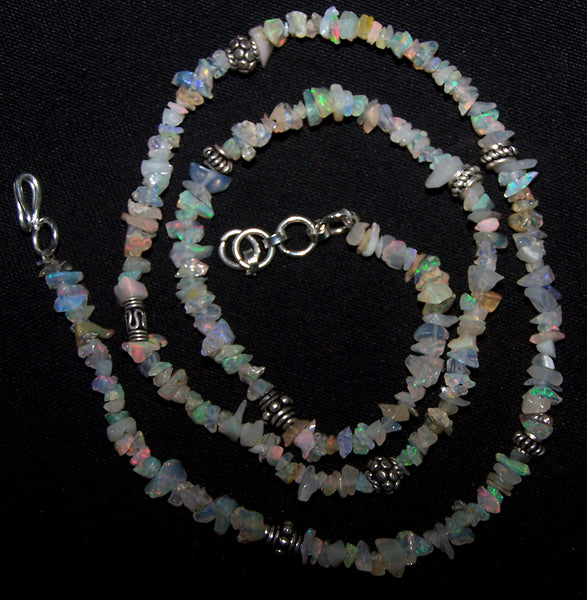 "Multi Rainbow Fire Free Form Ethiopian Welo Opal Chip bead Necklace 18 "" Long with Oxidized Silver Designer Beads AAA"