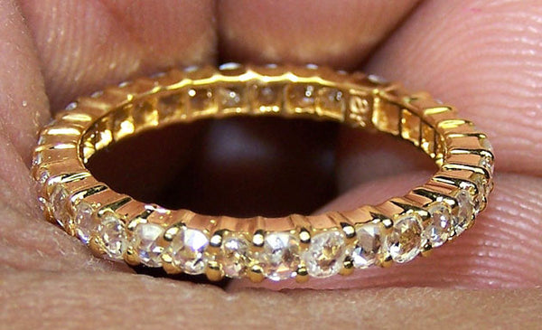 Super Unique 0.78 cts G/H SI Rose Cut Diamond Eternity Band/Ring Yellow Gold 18 K > Fine Jewelry