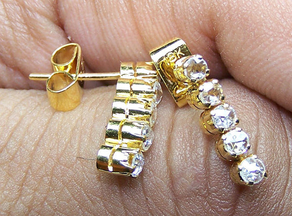 Super Unique 0.45 cts G/H SI Rose Cut Diamond Dangling Earring Yellow Gold 18 K > Fine Jewelry