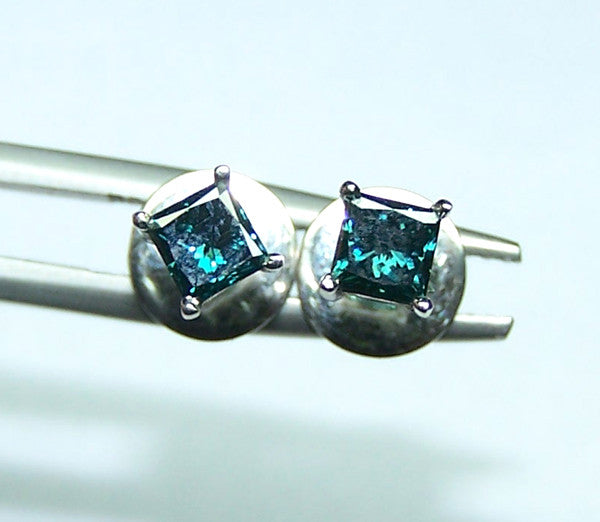 1/2 carat T.W. Enhanced Sea-Blue Color Fancy Diamond Princess Cut Solitaire,SI Clarity, 18 K White Gold Stud Earrings