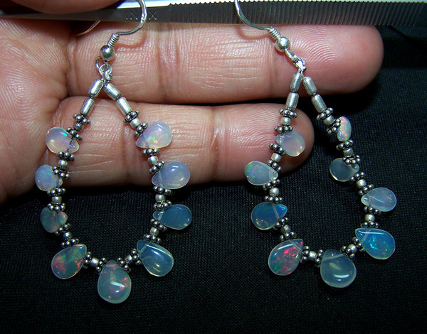 18.15 cts Rainbow Fire Natural Ethiopian Welo Opal Briolette Drop Beads & Oxidized Silver Findings Hoop Earrings AAA