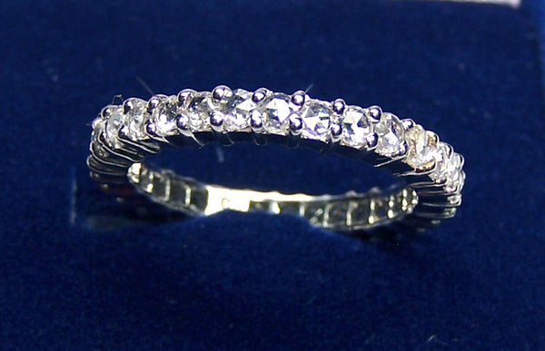 Super Unique 1.14 cts G/H SI Rose Cut Diamond Fine Eternity Band/Ring White Gold 18 K