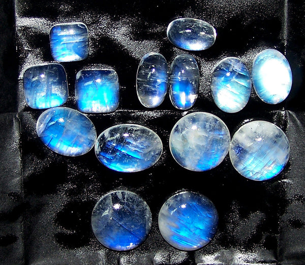 695.50 cts Blue Flashy White Rainbow Moonstone Cabochons,42 Pieces, Large Size, Wholesale Parcel/Lot of Oval,Round,Pear shape, Loose Gem,100 % Natural Gems AAA