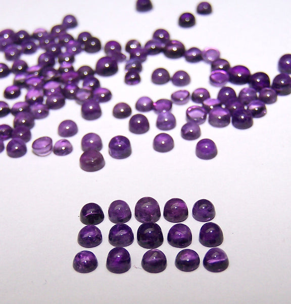 Amazing Hot Purple-Blue Shade of Masterpiece Calibrated 3 mm Round Smooth Cabochons of African Amethyst, 100 % Natural Loose Gemstone