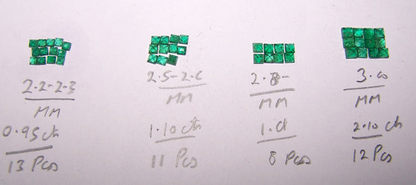 Assorted 2 - 3 mm Lush Green Brazilian Emerald Square Cut Faceted Gemstones Wholesale Lot / Parcel Sample AAA