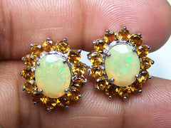16.20 Cts Sterling Opal Cabochon Gemstones Multi Color Monarch Opal Gemstones Color Changing Fancy Gemstones Earrings Pair Size 18x21 M.M.