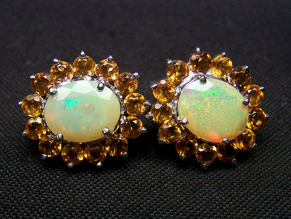 5.87 Cts Sunset Opal and Citrine Cluster Silver Earring - Insane Fire Play Faceted Oval of Ethiopian Welo AAA