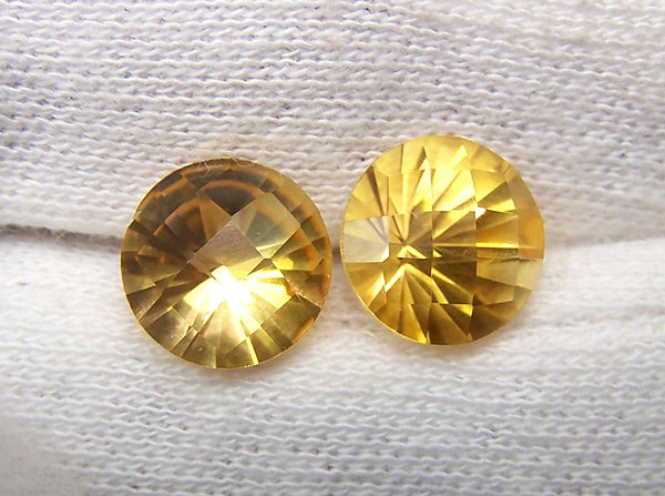 Masterpiece Collection : Amazing Golden Topaz Checkered Board Top with Diamond Cut Pavilion, Calibrated 10 x 10 mm Round, 100 % Natural Loose Gemstone Per Wholesale Sample Order Lot/ Parcel