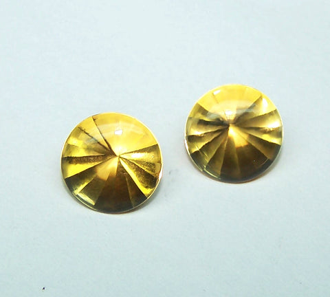 Masterpiece Collection : Amazing Golden Topaz Buff Top Diamond Cut, Calibrated 10 x 10 mm Round, 100 % Natural Loose Gemstone Per Wholesale Sample Order Lot/ Parcel