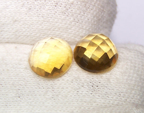 Masterpiece Collection : Amazing Golden Topaz Checkered Cut Dome Gem, Calibrated 10 x 10 mm Round, 100 % Natural Loose Gemstone Per Wholesale Sample Order Lot/ Parcel