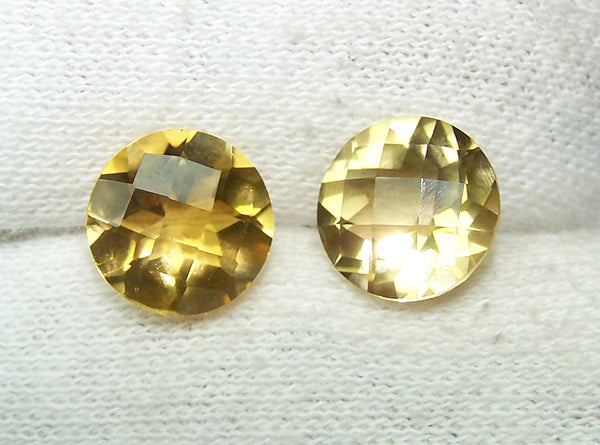 Masterpiece Collection : Amazing Golden Topaz Checkered Board Cut, Calibrated 10 x 10 mm Round, 100 % Natural Loose Gemstone Per Wholesale Sample Order Lot/ Parcel