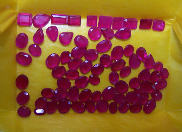 74 cts Mozambique Ruby Faceted Thin Slice Gemstones, Great color & Transperancy, Loose (76 Pcs) Wholesale Lot/Parcel AAA