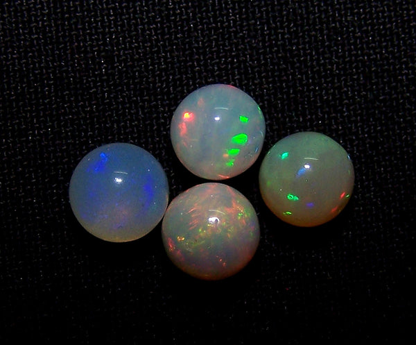 Masterpiece Ultra Rare Insane Multi Rainbow Fire Color Play Ethiopian Welo Opal Smooth 6.5 to 6.8 MM Round Sphere Balls, (4 Pcs) AAA Wholesale Lot / Parcel