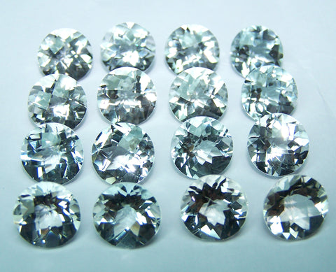 Masterpiece Collection : Amazing White Topaz IF clean, Checkered Board Cut, Calibrated 10 x 10 mm Round, 100 % Natural Loose Gemstone Wholesale Sample Order Lot/ Parcel