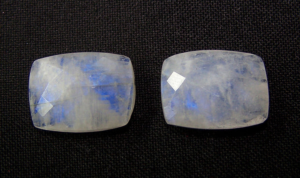 Masterpiece Collection : 19 x 14 mm Natural White Rainbow Moonstone Cushion Briolette Gems > Pair with Blue Fire