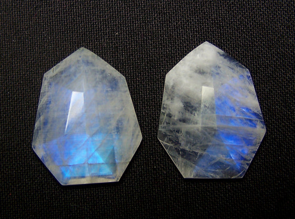 Masterpiece Collection : 26 x 20 mm Natural White Rainbow Moonstone Fancy Shield Cut Faceted Gems > Pair with Blue Fire