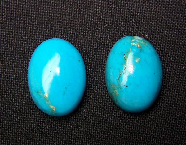 "Masterpiece Collection : 100 % Real & Natural ""sleeping Beauty"" Turquoise Smooth 19 X 14 Mm Calibrated Oval Cabochons - Pair > For Earrings"