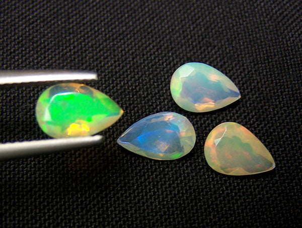 3.10 cts Insane Metallic Rainbow Fire Color Play Ethiopian Welo Opal Faceted 6 x 9 MM Pears : 4 Pcs Loose Gemstone Lot/Parcel > AAA