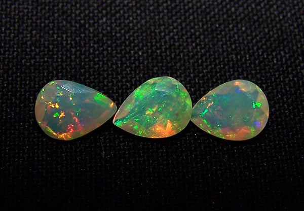 1.70 cts Insane Metallic Rainbow Fire Color Play Ethiopian Welo Opal Faceted 6 x 8 MM Pears : 3 Pcs Loose Gemstone Lot/Parcel > AAA