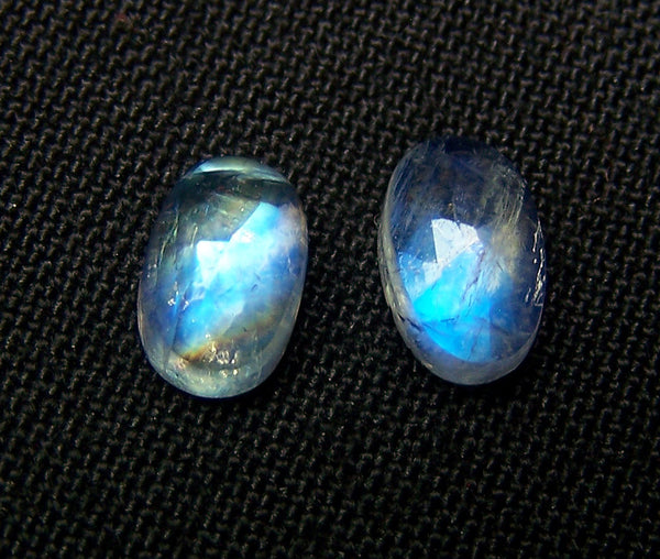 5 x 8 MM Blue Flashy White Rainbow Moonstone Rose Cut Cabochon,2 Pieces - 1 Pair, Loose Gems,100 % Natural Gems AAA